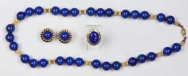 (Lot of 3) Lapis lazuli, 14k yellow gold and metal