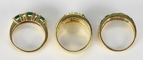 (Lot of 3) Emerald, diamond and yellow gold rings - 3