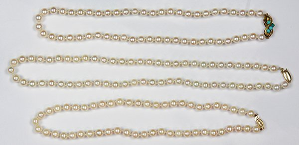 (Lot of 3) Cultured pearl and yellow gold necklace