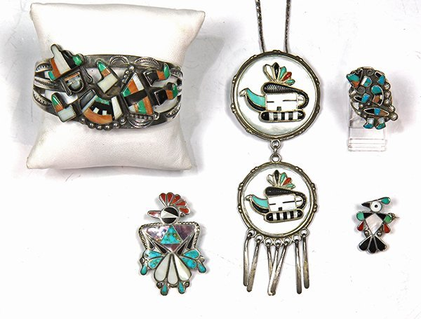 (Lot of 5) Native American multi-stone inlay silver