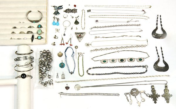 Collection of multi-stone, glass, sterling silver and