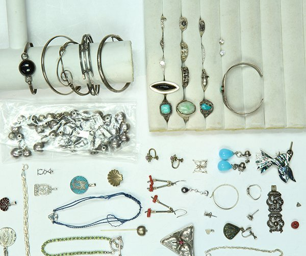 Collection of multi-stone, glass, sterling silver and - 2
