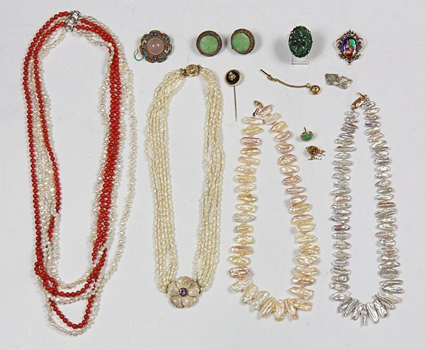 Collection of 13 multi-stone, enamel, 14k gold,