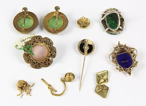 Collection of 13 multi-stone, enamel, 14k gold, - 3