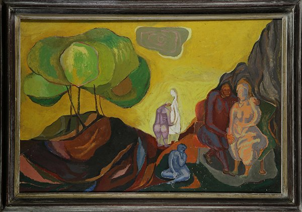 Painting, Fauvist Scene with People in a Landscape