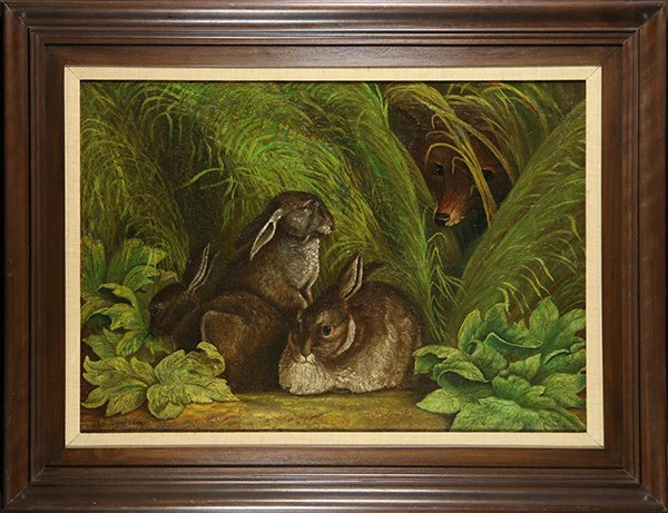 E. Sandberg, The Fox Ready for Three Bunnies, Painting