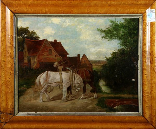 Painting, Horses at Rest by a Stream