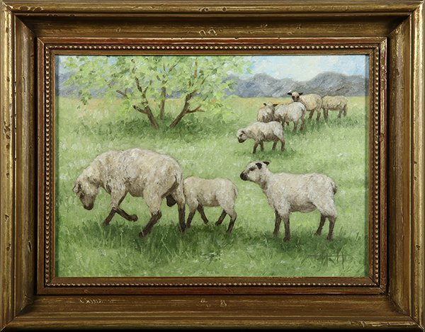 Painting,  Sheep Grazing in a Field