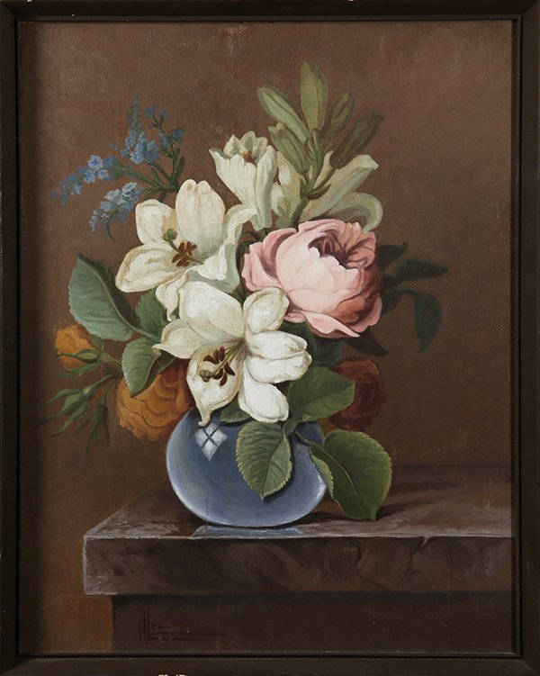Still Life with Flowers in a Blue Vase, oil on board,