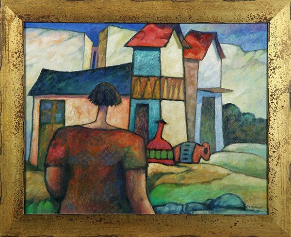 Figure Approaching a Village Building, painting