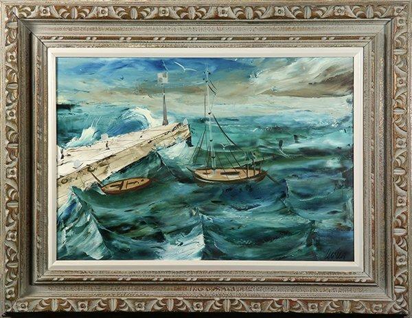 Rough Seas by a Wharf, painting