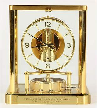 Jaeger Le Coultre Atmos clock, having a brass and glass