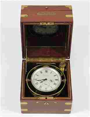 Waltham brass eight day ship's chronometer, in fitted