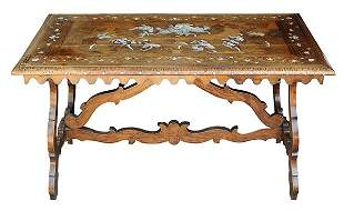 North Italian Baroque inlaid walnut center table,