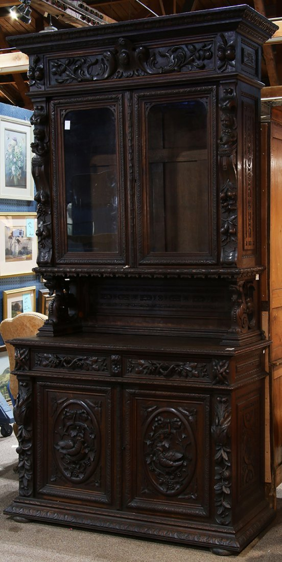 Henri II style carved oak buffet a deux corps