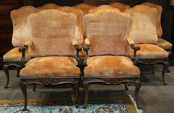 (Lot of 10) Italian Rococo dining chairs, circa 1750,