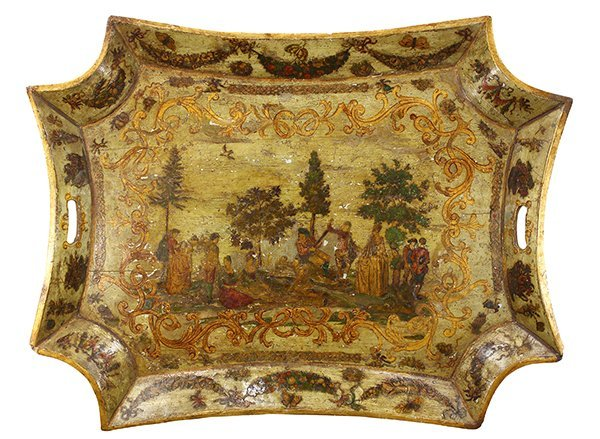 Venetian Arte Povera green-ground and parcel gilt tray,