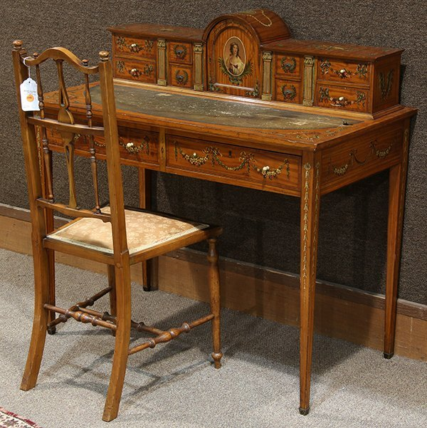 English satinwood writing desk and chair in the Adam's