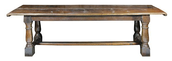 Charles I carved oak refectory table circa 1650, having