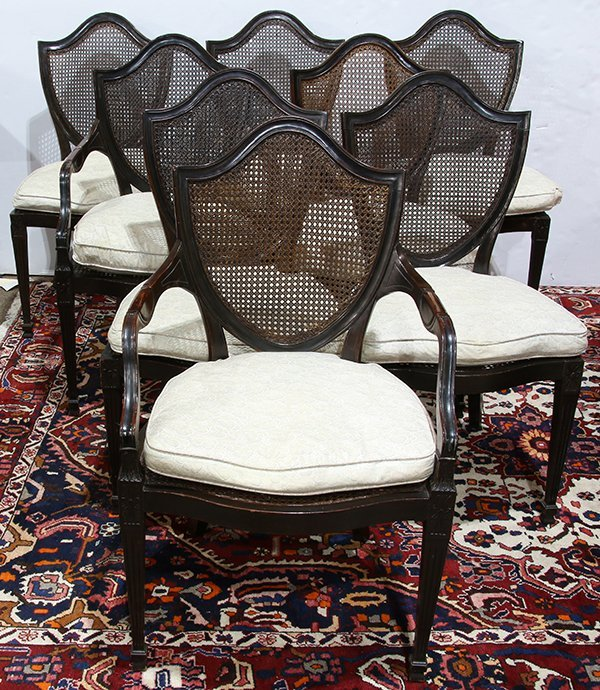 (lot of 8) Regency style shield back dining chairs