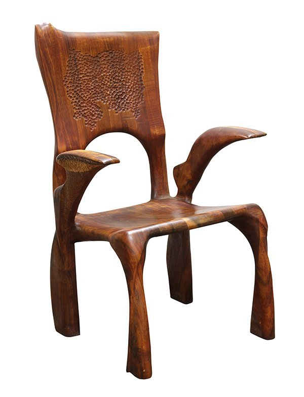 American custom Hawaiian koa wood armchair, executed by