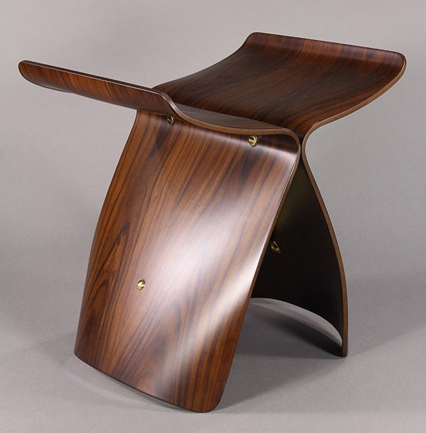 Vitra Design rosewood butterfly stool, after a Sori