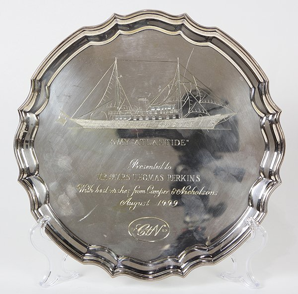 English sterling silver presentation salver by Asprey &