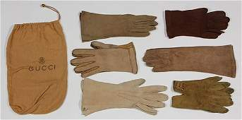 Six pairs of leather couture fashion gloves circa