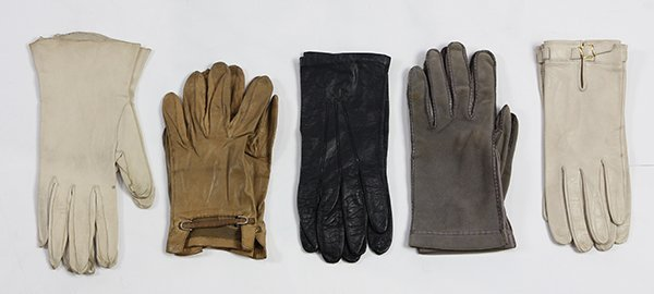 Five pairs of leather couture fashion gloves, circa