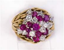 Ruby, diamond and 18k yellow gold ring