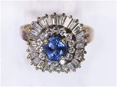Sapphire, diamond and 14k yellow gold ring