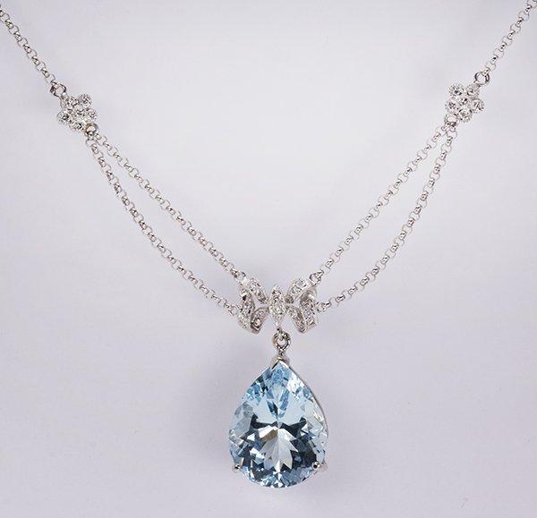 Aquamarine, diamond, and 18k white gold necklace
