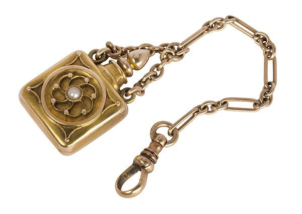 Victorian pearl and 14k yellow gold bottle fob and