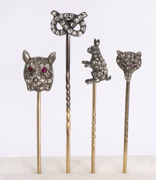 (Lot of 4) Diamond, paste, gold and silver stick pins