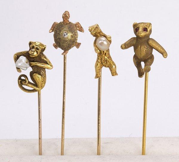 (lot of 4) Diamond, multi-stone and yellow gold animal