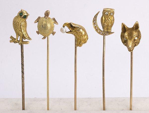 (Lot of 5) Diamond, multi-stone and yellow gold animal