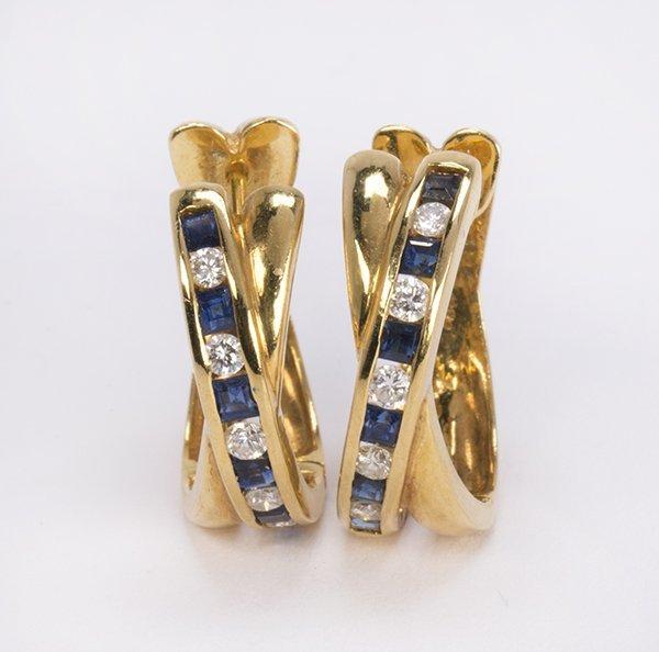 Sapphire, diamond and 18k yellow gold hoop earrings