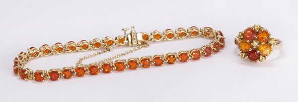 Fire opal and 14k yellow gold jewelry suite