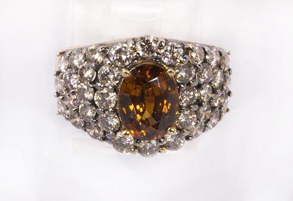 Brown zircon, diamond and 18k yellow gold ring