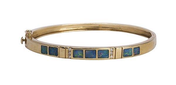 Opal, diamond and 14k yellow gold bracelet