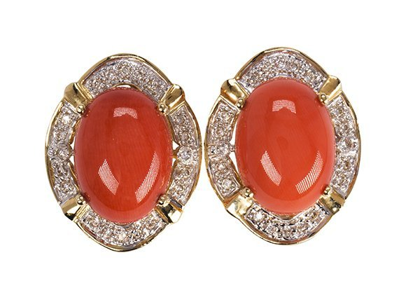 Coral, diamond and 14k yellow gold earrings