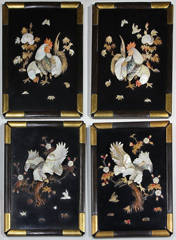 Japanese Lacquered Inlaid Plaques