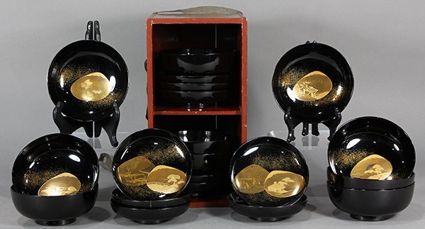 Japanese Black Lacquered Bowls with Takamakie
