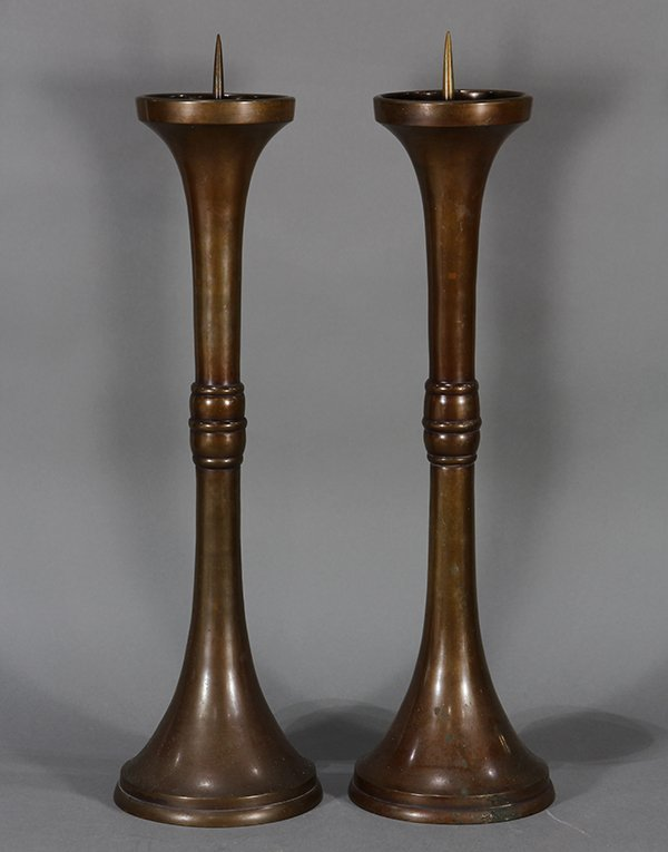 Pair of Japanese Bronze/Copper Candle Holders