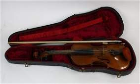 """Violin and Bow, consisting of German bow branded """"H"""