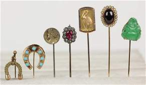 Lot of 7 Multistone and yellow gold stick pins