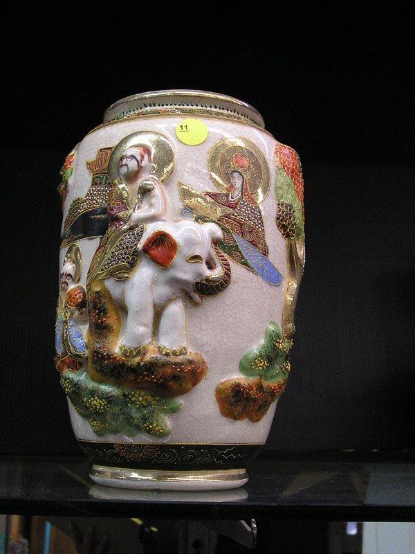 11: Satsuma crackle glaze vase