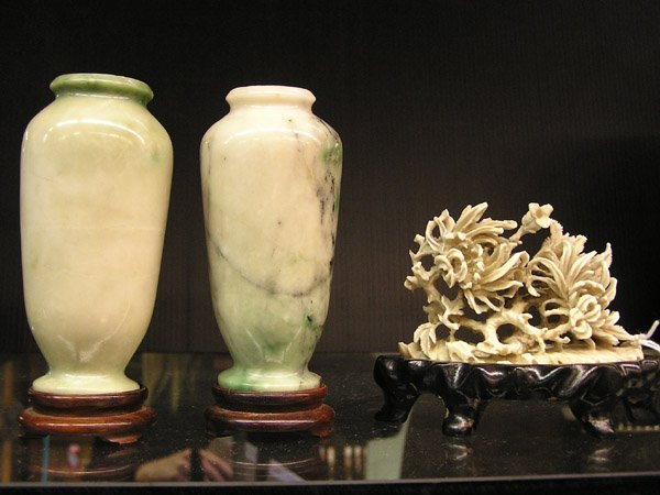 13: Chinese marble carved vases