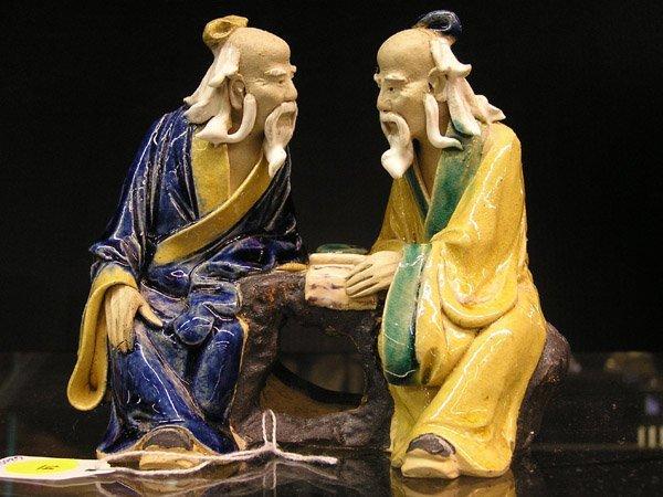 """14: Chinese """"Mudmen"""" stoneware scholars c.1900"""