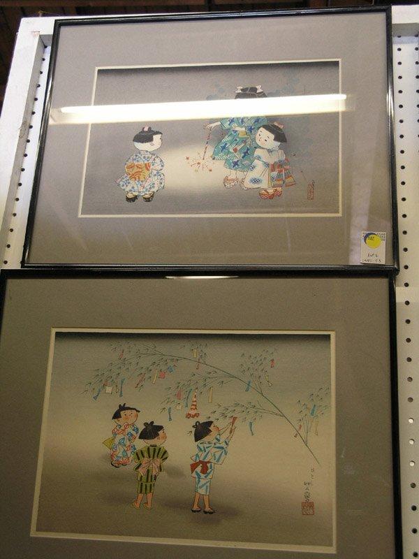 537: Japanese wood block prints, children, 20th